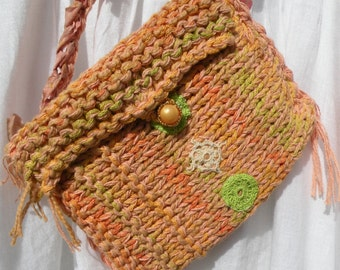 Shoulder bag, purse handbag, small Bohemian Bag melon peach orange cotton lined vintage crochet summer Easter wedding spring vegan i701