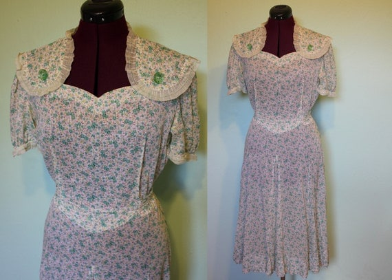 30s 40s floral mint organza trim feedsack dress XL