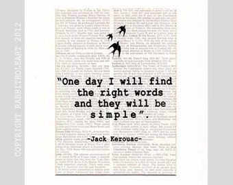 JACK KEROUAC QUOTE Art Print Wall Decor Poster Simplicity inspirational motivational literary writer vintage Dictionary Book Page 8x10, 5x7