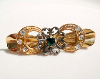 Vintage Victorian Gold Emerald Rhinestone Brooch Pin