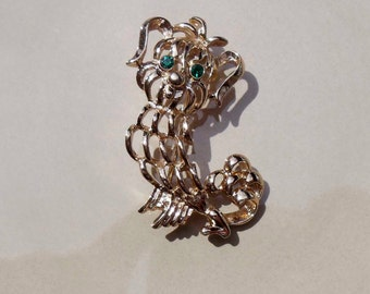 Gold Dog Emerald Eyes AVON Brooch Vintage