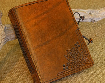 A6, Standard, Leather Bound Journal, Art Nouveau Fig Leaf, Leaf Journal, Brown Leather, Leather Notebook, Nature Diary, Personalized.