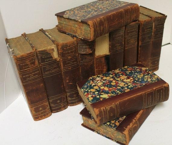 Antique Set 12 Waverley Novels Books Hardcover Leather Bound 1920s