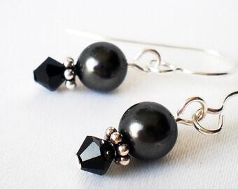 Crystal Pearl Earrings Sterling Silver - Jet Black Swarovski - Always - Wedding Flower Girl Gift for Her Anniversary