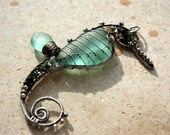 CUSTOM order for Judith. AQUA TEAL seahorse wire wrapped seaglass pendant.
