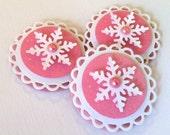 CLEARANCESweet Christmas Embellishments - Pink Snowflake