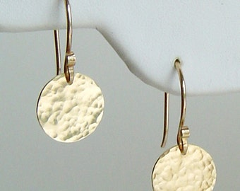 Earrings . Gold Disc Earrings, Hammered, Satin, or Hand Stamped, Modern, Simple, Minimal, Bridesmaids, Mothers, Gift