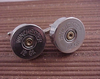 Shotgun Shell Cuff Links Winchester 12 Gauge Shotgun Shell Recycle Repurpose Upcycle