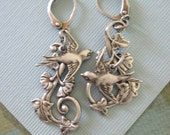 Bird Earrings, Dangle Earrings, Twig Earrings, Leaf Earrings, Silver Earrings, Bird Jewelry, Leaf Jewelry, Everyday Jewelry, Swallow Jewelry