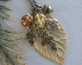 Leaf Necklace, Leaf Jewelry, Oak Leaf, Acorn Necklace, Fall Leaves, Fall Jewelry, Oak Jewelry, Acorn Jewelry