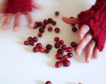 wild cranberry. handknit fingerless mittens red fingerless gloves hand warmers