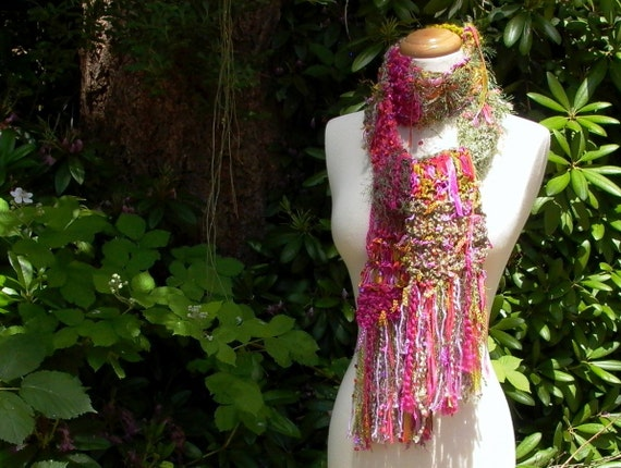 edens garden. wearable fiber art hand knit scarf . magenta fuchsia hot pink chartreuse olive green . womens fashion knitwear accessories