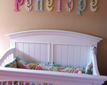 Wall Decor, GLITTERED Wall Letters, wooden name sign for baby nursery kids  decor