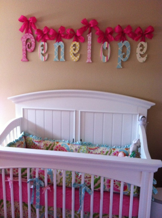 Nursery name sign wooden name nursery name glittered baby for Where to buy wooden letters for nursery