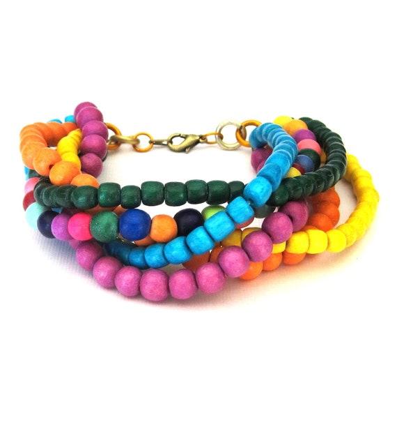 Vibrant Rainbow Multi Strand Twist Bracelet wood beads