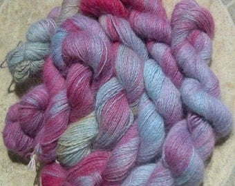 Pink Pastels Hand Painted Pure Angora Yarn, 200 yd Large Skein