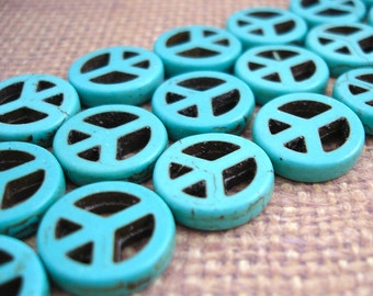 Peace Sign Turquoise Dyed Howlite Beads 20