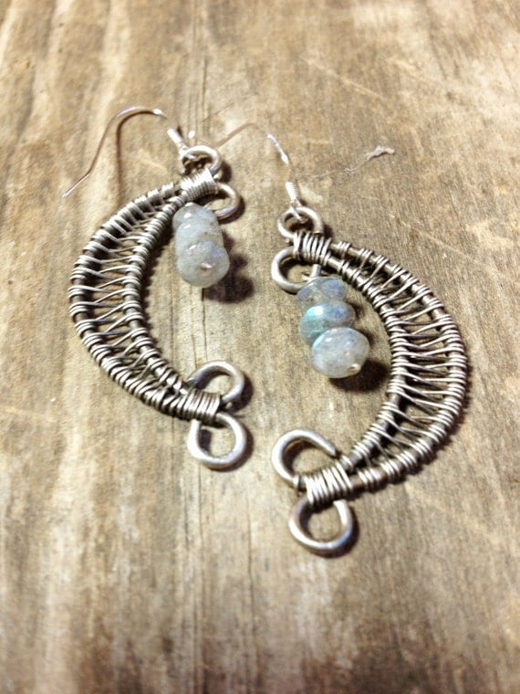 Crescent Moon Earrings Sterling Silver with Labradorite