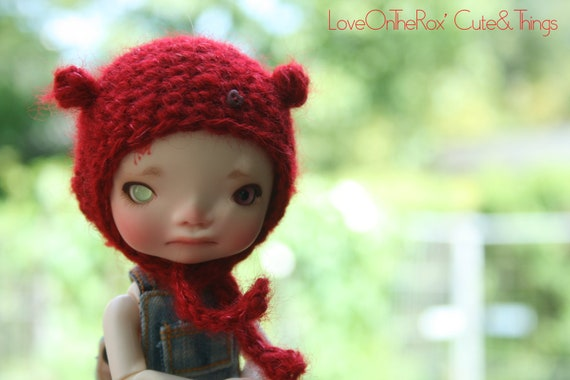 Red Fluffy Bug Hat for Irrealdoll Enyo and Ino - Fits LatiYellow/PukiFee with wig.