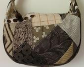 Brown and tan crazy patchwork shoulder bag / tote / purse