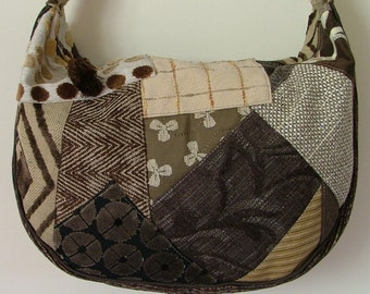 Brown and tan crazy patchwork shoulder bag / tote / purse