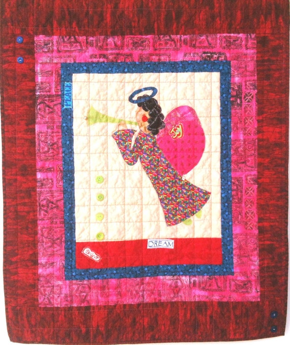 I Believe in Angels Number 20 art quilt wallhanging