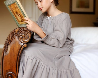 Warm and Cozy Grey Flannel Nightgown for Winter sizes 2-8