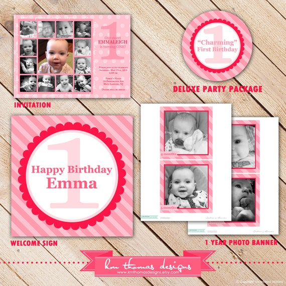 Deluxe Custom Printable Party Package...CHARMING COLLECTION First Birthday...Personalized...by KM Thomas Designs