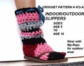 Crochet slippers, boot style, indoor or outdoor, winter, alpine, children, accessories, CROCHET PATTERN, num. 472-A, clothing