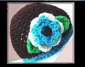 Crochet Pattern. Brown Beanie with a flower. num 249A.... Sizes 20, 22, and 24 inch headbands, Age 16 to Adult