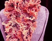 CROCHET PATTERN - crochet accessories - scarf,  womans scarf,  number 167, Peach Ruffled Scarf. It's crazy easy.
