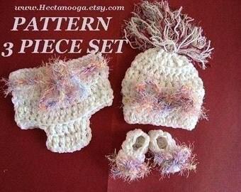CROCHET PATTERN hat diaper cover booties , number 176, great photo prop