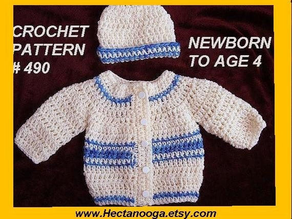 Free Crochet Patterns For Baby Boy Beanies : CROCHET PATTERN baby sweater baby boy crochet by Hectanooga