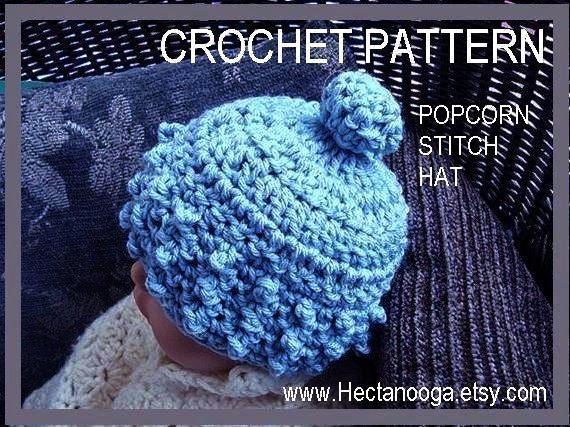 hat CROCHET PATTERN. num. 71 Baby Hat....Popcorn Stitch Hat,  sizes Newborn to age 5