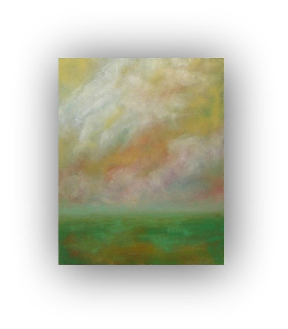 All That We See- Abstract Landscape Oil Painting 24x30 clouds and sky yellow green and white original palette knife painting on canvas