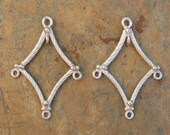 Sterling Silver Diamond Shaped Chandelier Earring Components