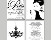 Audrey In Paris - Set of Four 8x10 Prints - Audrey Hepburn, Chandelier, I Believe in Pink, Paris Is Always A Good Idea - Choose Your Colors