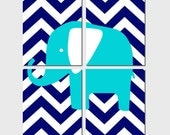 Kids Wall Art - Chevron Elephant - Set of Four 8x10 Prints - CHOOSE YOUR COLORS - Shown in Yellow, Gray, Navy, Aqua and More
