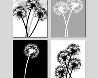 Dandelion Quad - Set of Four Coordinating 11x14 Prints - CHOOSE YOUR COLORS - Shown in Black, White, Gray, and More
