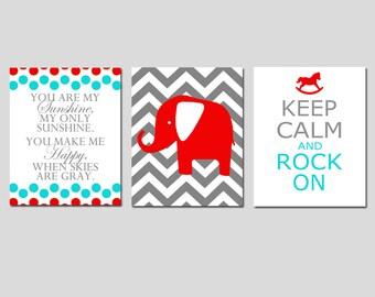 Modern Nursery Art Trio - You Are My Sunshine, Chevron Elephant, Keep Calm and Rock On - CHOOSE YOUR COLORS - Set of Three 11x14 Prints