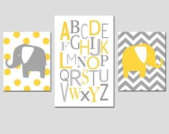 Modern Elephant Alphabet Trio - Set of Three Chevron Zig Zag Polka Dot Prints - 8x10 and 11x17 - CHOOSE YOUR COLORS - Gray, Yellow, and More
