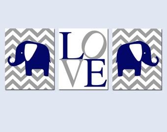 Elephant Love Nursery Art Trio - Set of Three 8x10 Prints - Choose Your Colors and Background Design - Chevron, Stripe, Polka Dot