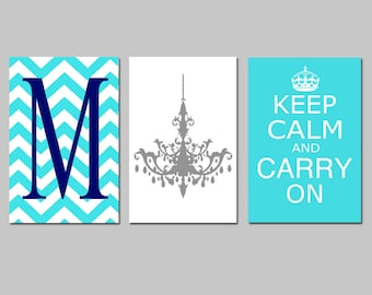 Wall Art - Keep Calm Carry On, Chevron Monogram Initial, Chandelier Trio - Set of Three 11x17 Art Prints - CHOOSE YOUR COLORS
