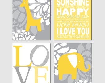 Baby Elephant Giraffe Love Quad - Set of Four 8x10 Nursery Prints - You Are My Sunshine - CHOOSE YOUR COLORS - Yellow and Gray