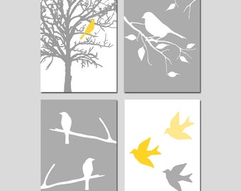 Bird Nursery Art Prints Quad - Set of Four 13x19 Nature Prints - Birds, Branch, Tree - CHOOSE YOUR COLORS - Shown in Gray, Yellow and More