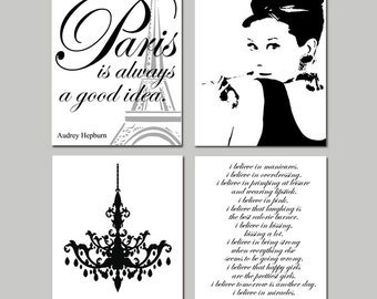 Audrey In Paris - Set of Four Prints - Audrey Hepburn, Chandelier, I Believe in Pink, Paris Is Always A Good Idea - Choose Your Colors