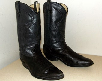 Vintage Dingo brand cowboy boots size 9.5 D or cowgirl size 11 -- two tone grey black