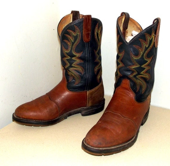 Broken In Black and brown leather Double H brand cowboy boots size 8.5 D or cowgirl size 10 wide width