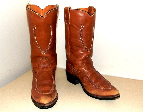 Vintage Double H Brand Cowboy Boots Size 8 D Or Cowgirl Size