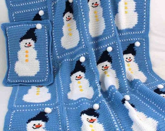 Snowman Afghan and Pillow Pattern PDF